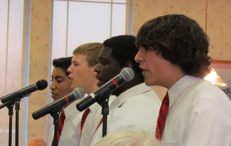 Freshman Anthony Morales and juniors Tyler Darnell, Shaquon Howard, and Dylan Ladd performed their multiple Project 2 songs  at Culver's restaurant in order to raise funds for Huntley's Fine Arts Boosters (R. Peterson).