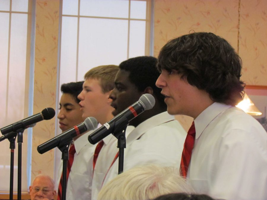 Freshman+Anthony+Morales+and+juniors+Tyler+Darnell%2C+Shaquon+Howard%2C+and+Dylan+Ladd+performed+their+multiple+Project+2+songs++at+Culver%27s+restaurant+in+order+to+raise+funds+for+Huntley%27s+Fine+Arts+Boosters+%28R.+Peterson%29.+