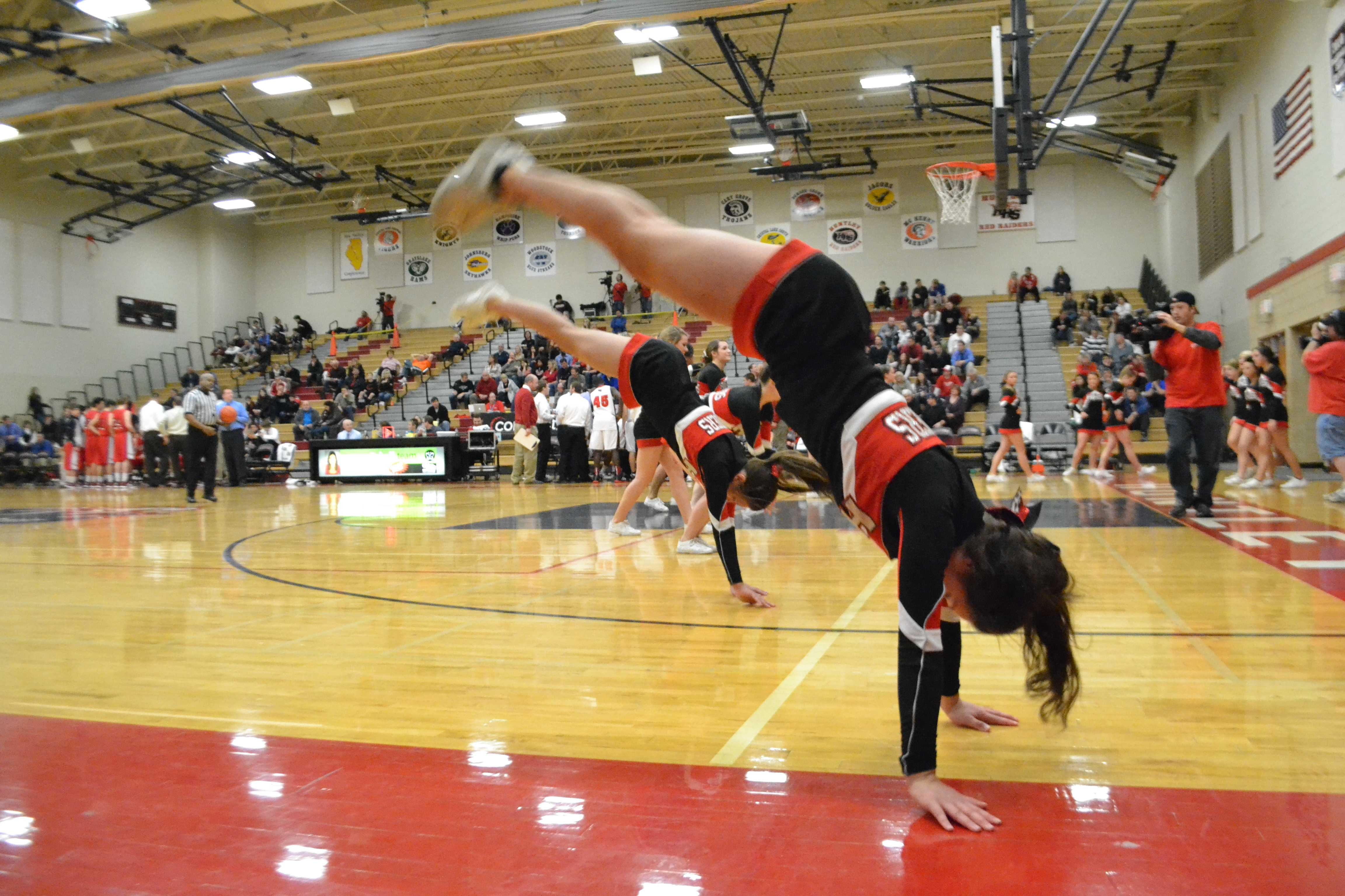 Tryouts for next year's future cheerleading team were held this past week. Motivation and team loyalty serve as big factors for the six coaches and IHSA judges during tryouts (M. Krebs).