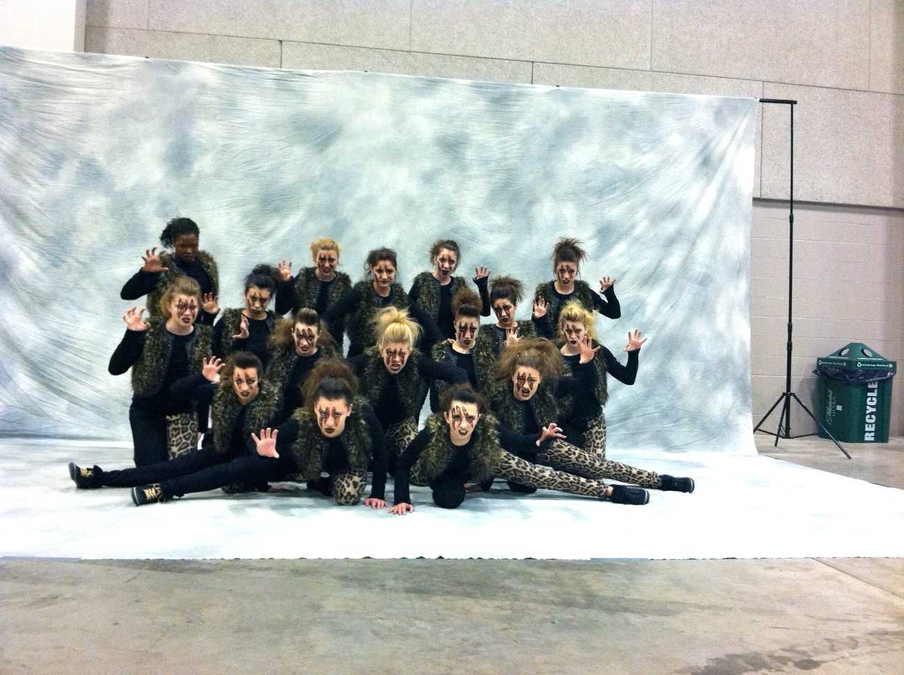 The Huntley poms team poses for their group shot