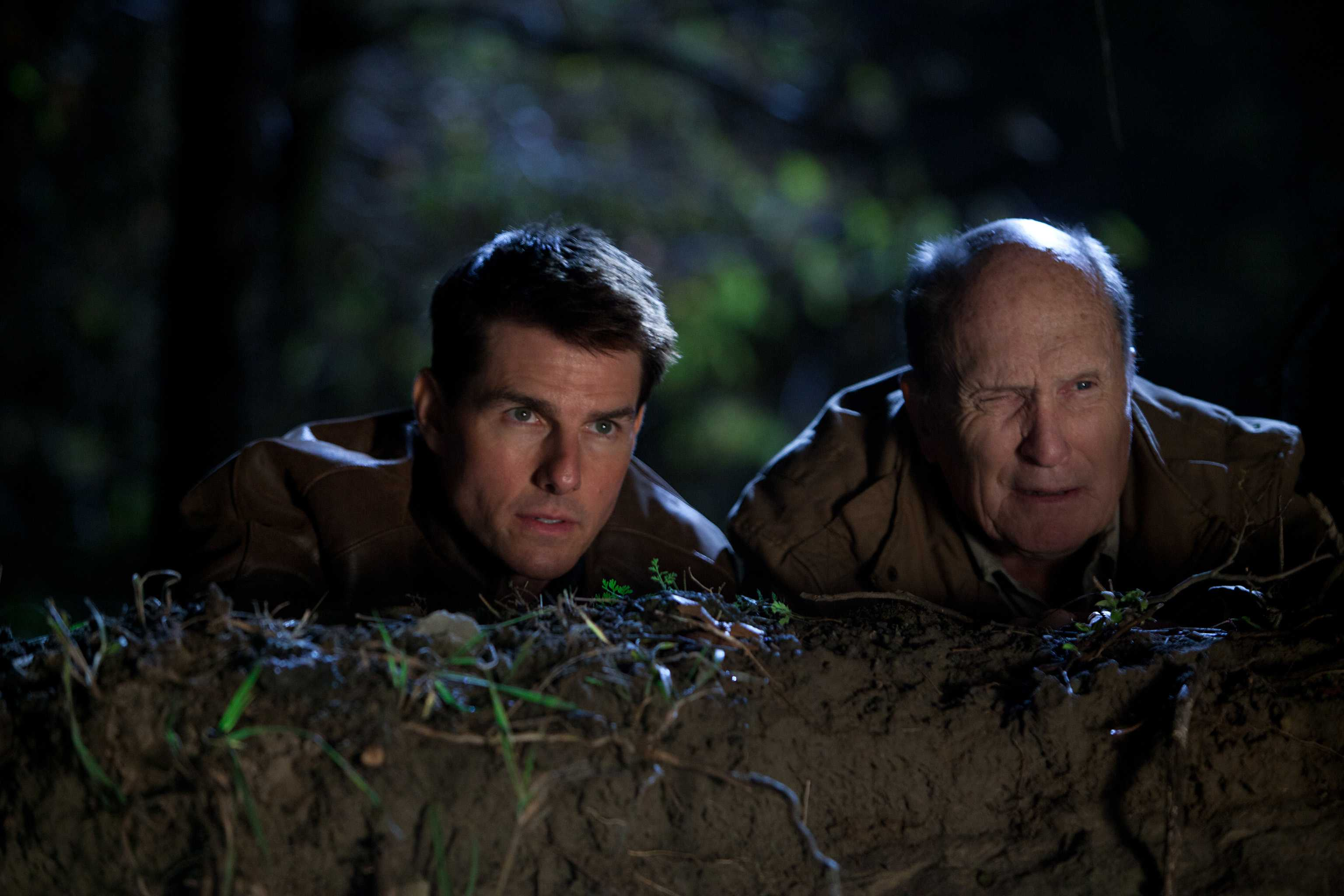 Tom Cruise, left, is Reacher and Robert Duvall is Cash in
