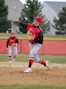 Luecht delivers a pitch to the North batter.