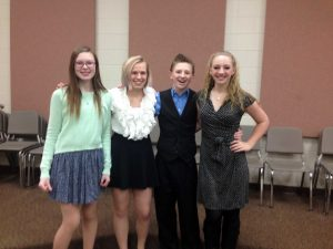 Katie Birky (left), Jenna Boyd, Austin Hill, and Emily Hill pose during rehearsal (H. Baldacci).