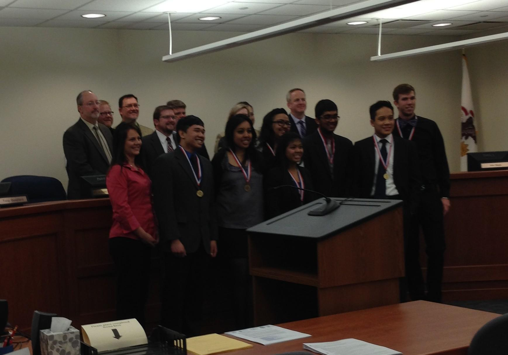 FBLA State winners are recognized by the school board (J. Polit).
