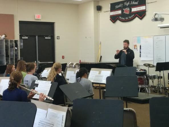 Students prepare for IMEA auditions in band room (Weideman).