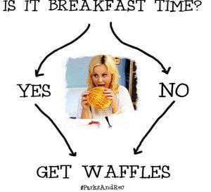 Leslie Knope (Poehler) always craving waffles, and you can do the same with watching 'Parks and Recreation' (Courtesy of  facebook.com/parksandrecreation).