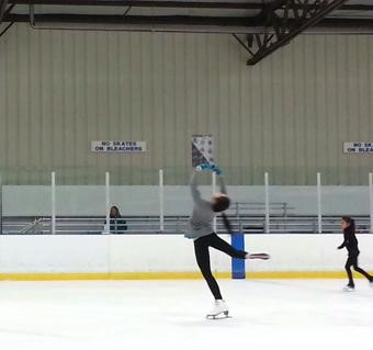 An Nguyen performing a layback spin at the Crystal Ice House (Courtesy of Nguyen0.