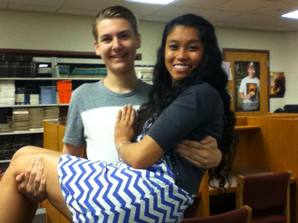 Audrey and Cameron in the library at Huntley High School.