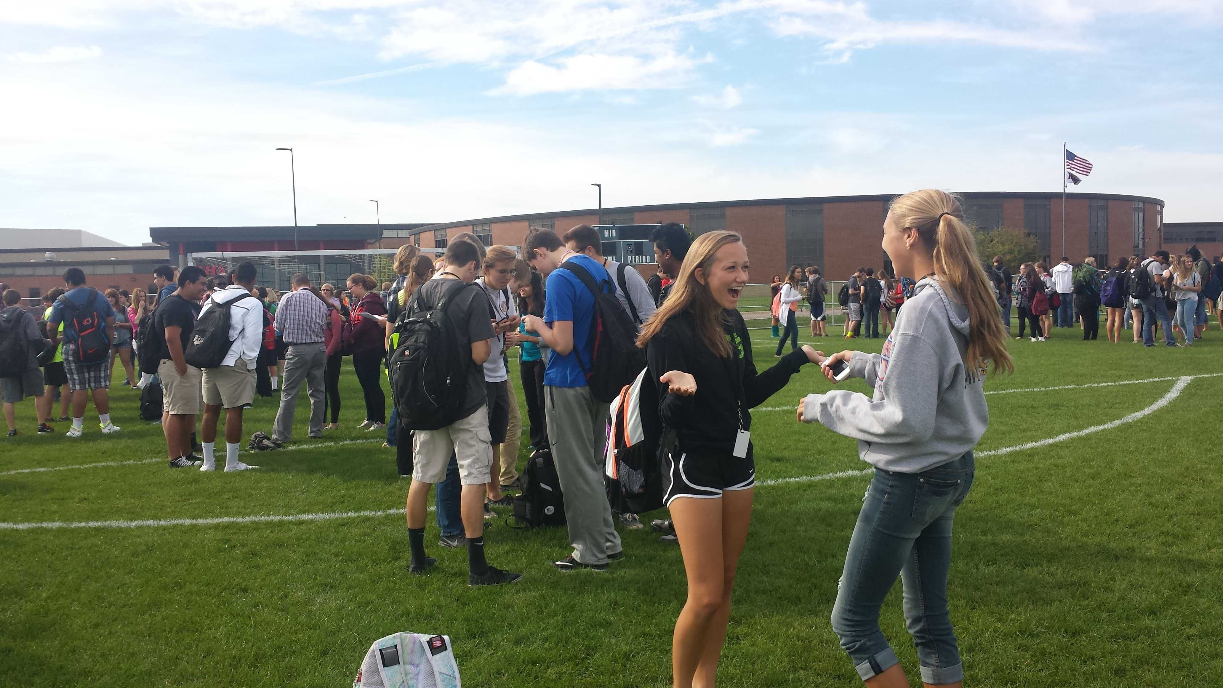 Huntley High School students participating in third hour fire drill.