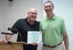 Bret Nicholaus (right) and Joseph Durepos (left) at the Huntley Library for their presentation.