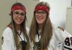 Grace Carman (right) and Becca Fishman (left) pose on Twin Day during Homecoming Week.