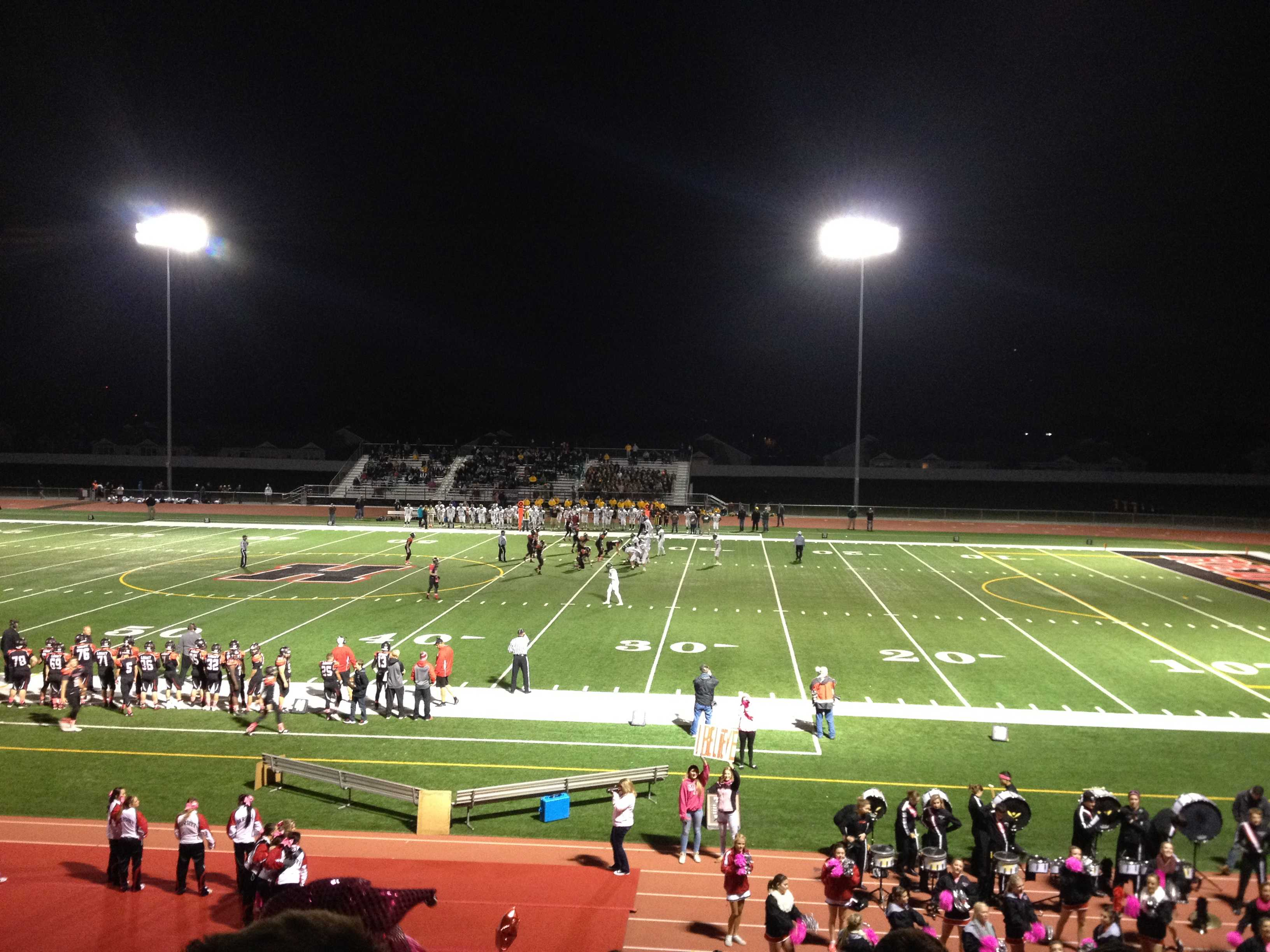 The Huntley High School Red Raiders starting off the first quarter, against CLS.