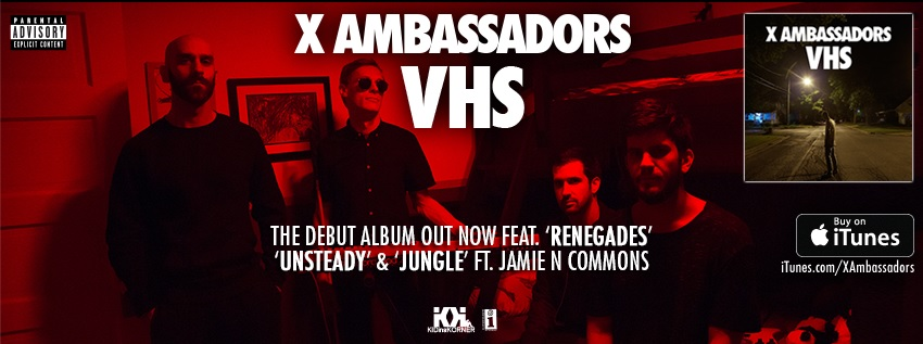 X Ambassadors recently released their debut album 'VHS' which includes the hit single 'Renegades' (Courtesy of www.facebook.com/XAmbassadors).