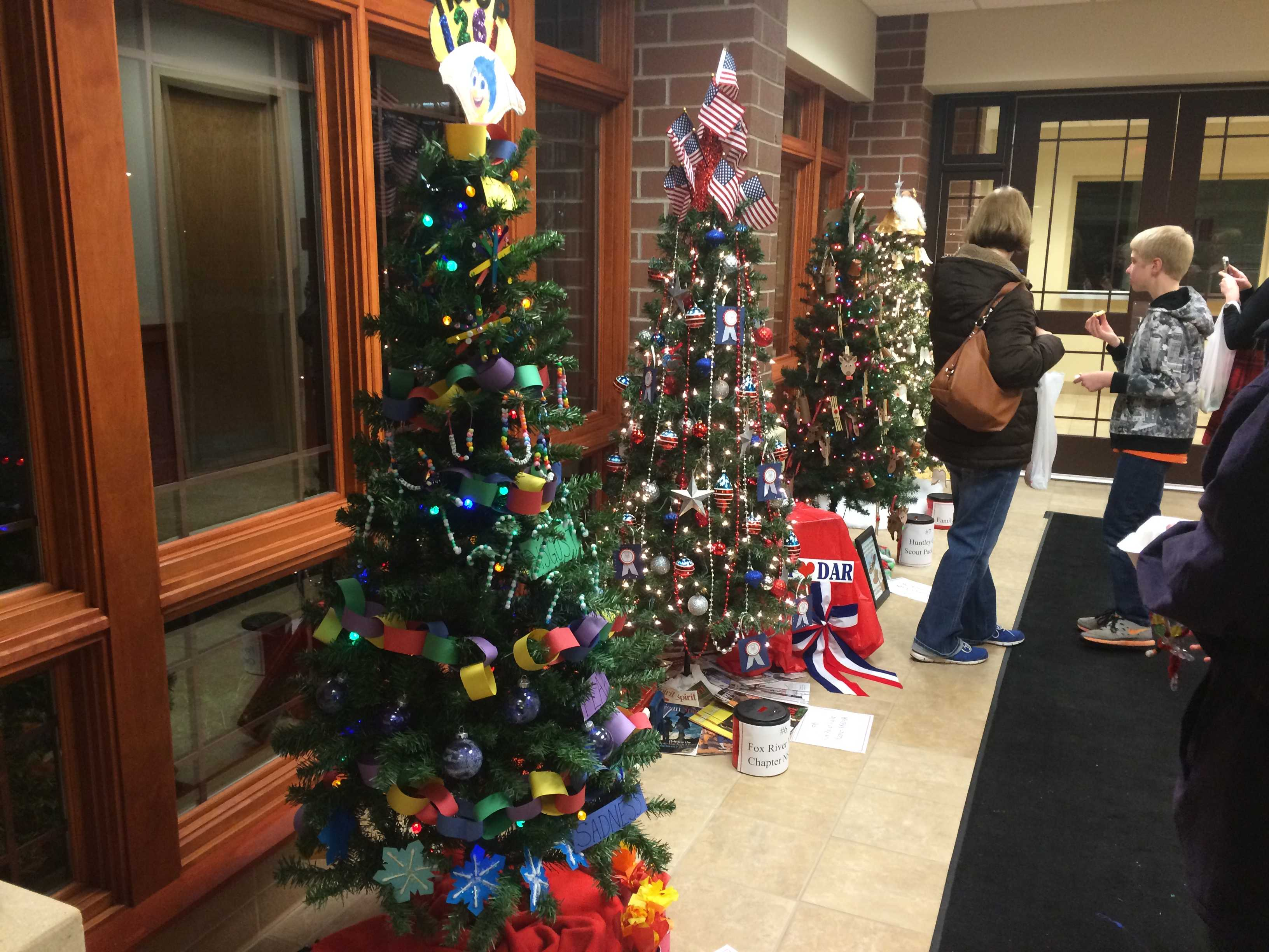 At A Very Merry Huntley, there was a Christmas tree decorating contest including trees from Willow Creek and KinderCare.