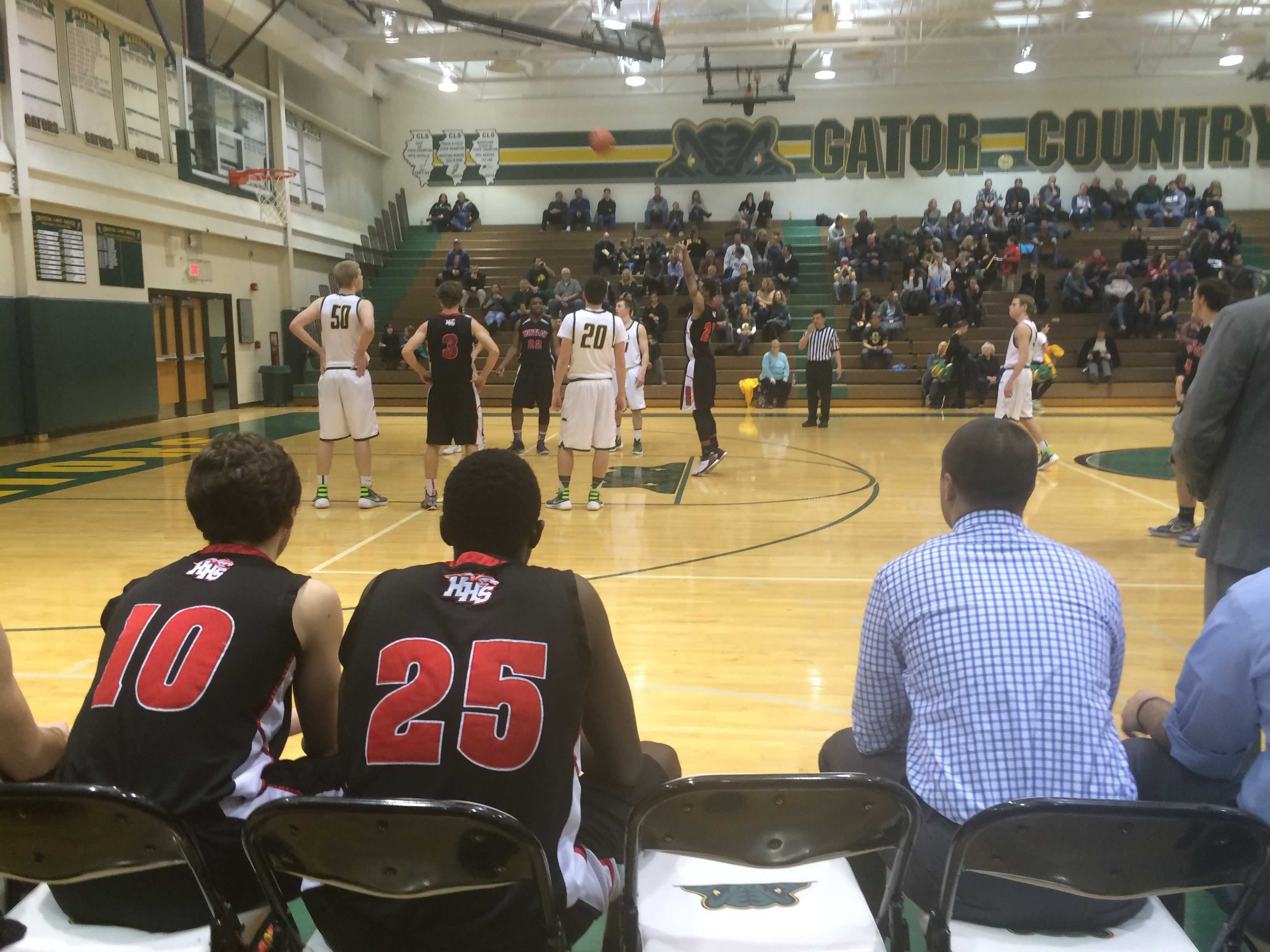 Senior Kyle Nwogu shoots a free throw in a late-season clash against Crystal Lake South.