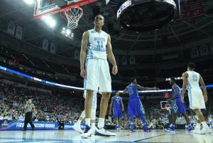 North Carolina's Brice Johnson (11) celebrates after blocking a shot by Florida Gulf Coast's Kevin Mickle (10) during the second half in the first round of the NCAA Tournament at PNC Arena in Raleigh, N.C., on Thursday, March 17, 2016. North Carolina advanced, 83-67. (Ethan Hyman/Raleigh News & Observer/TNS)