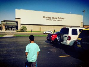 Student parking lot at Huntley High School (Courtesy of Facebook).