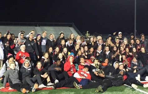 The boys and girls track teams pose with their McHenry County trophies (Courtesy of Huntley Athletics).