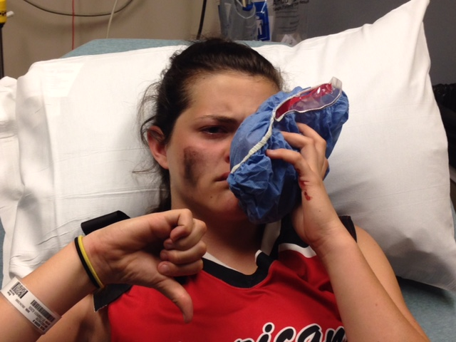 Walsh+in+the+hospital+after+getting+hit+in+the+face+with+a+softball.+%28Courtesy+of+Q.+Walsh%29
