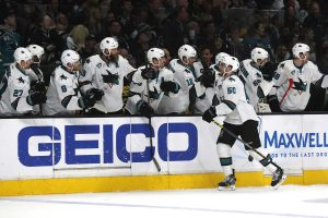 The San Jose Sharks' Chris Tierney high-fives teammates after scoring a first-period goal against the Los Angeles Kings during Game 5 of the Western Conference quarterfinals at Staples Center in Los Angeles on Friday, April 22, 2016. (Robert Gauthier/Los Angeles Times/TNS)