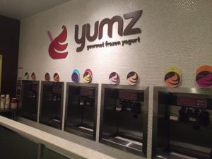 The frozen yogurt choices at Yumz, including normal and seasonal flavors (Courtesy of A.Landman).