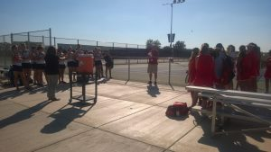 Huntley High School girls tennis prepares to begin their match against Cary Grove on Thursday (Courtesy of J.Barker).