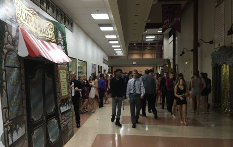 Students enter the Parisian style Homecoming dance