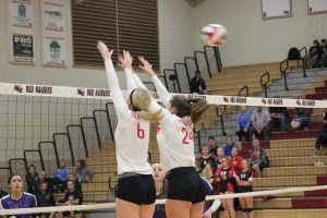Seniors Alyson Dion and Caitlin Thorelius block the ball (Courtesy of J. Link).