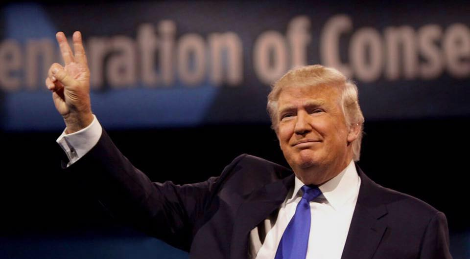 The Republican Candidate, Donald Trump throwing up the peace sign. (Photo courtesy of Donald Trump Facebook)