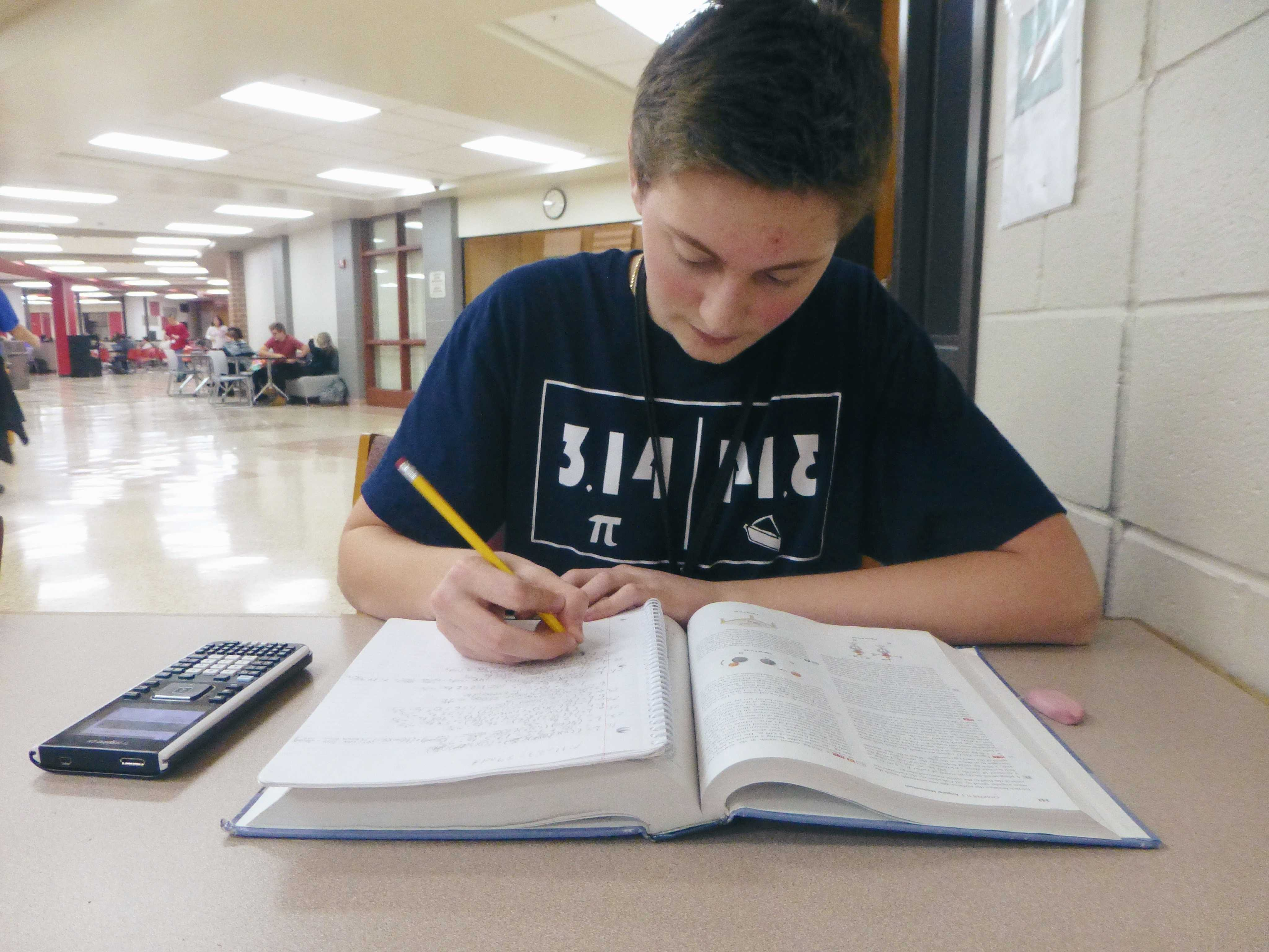 Roller sits and works on his math homework.
