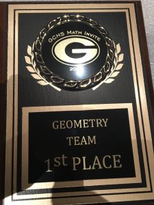 The first place award for geometry team (L. Jenkins)