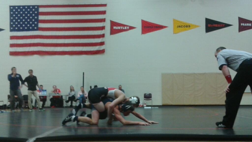 Huntley wrestling defeats Cary Grove  61-6 at home Friday night (F. Losbanes).