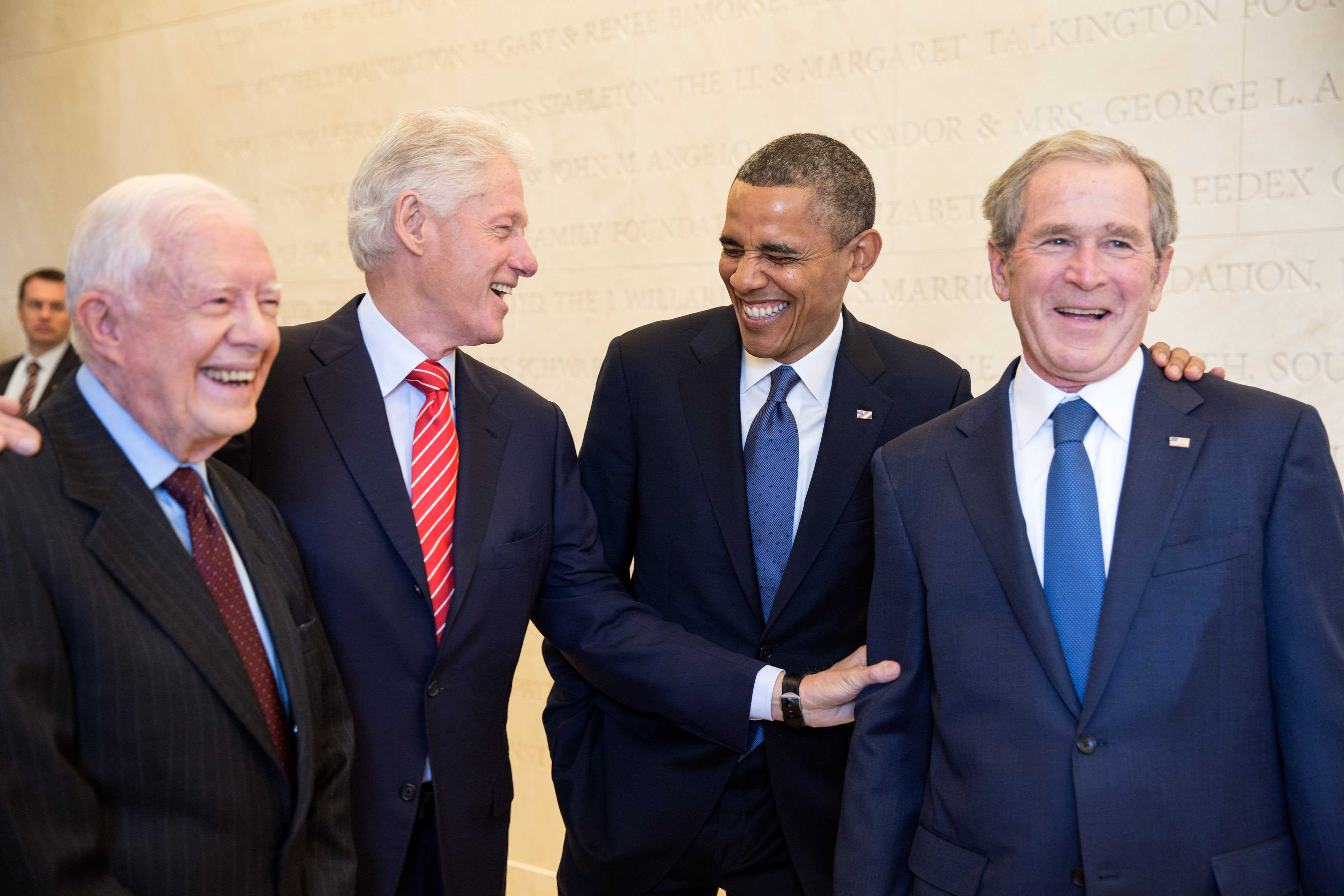 Courtesty of: https://upload.wikimedia.org/wikipedia/commons/b/b3/Four_U.S._presidents_in_2013.jpg