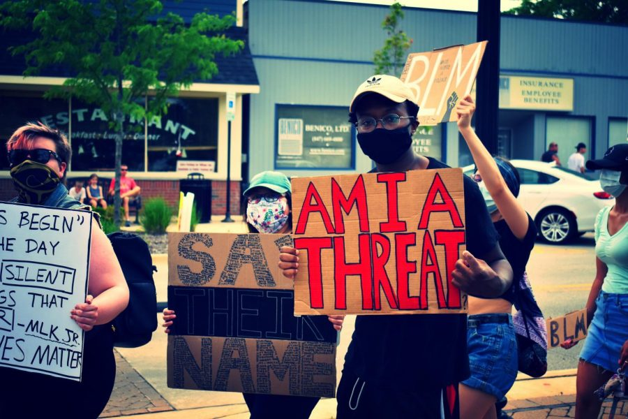 Peaceful Black Lives Matter protest in Huntley square