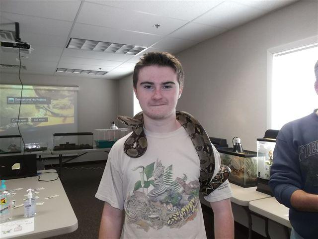 Dakotah Henn and his pet snake (courtesy of D. Henn).