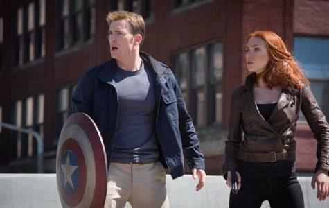 Steve Rogers (Chris Evans) and Natasha Romanoff (Scarlett Johansson) star in Marvel's