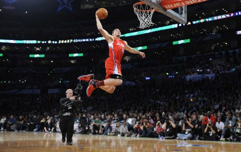 The Los Angeles Clippers' Blake Griffin flies through the air on his way to winning the NBA Dunk Contest as part of All-Star game festivities at the Staples Center in Los Angeles, California, on Saturday, February 19, 2011. (Wally Skalij/Los Angeles Times/MCT)
