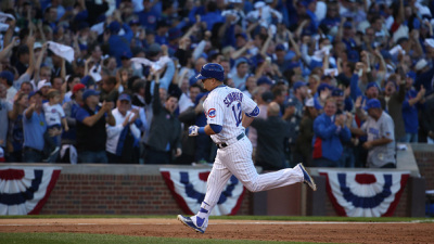 Chicago Cubs left fielder Kyle Schwarber (12) rounds the bases after his second-inning home run on Monday, Oct. 12, 2015, at Wrigley Field in Chicago. (Brian Cassella/Chicago Tribune/TNS via Getty Images)