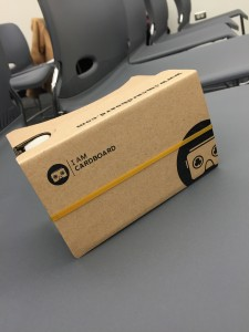 The 'I Am Cardboard' lens allows wearers to be transported to a new location (Courtesy of D.Martin).