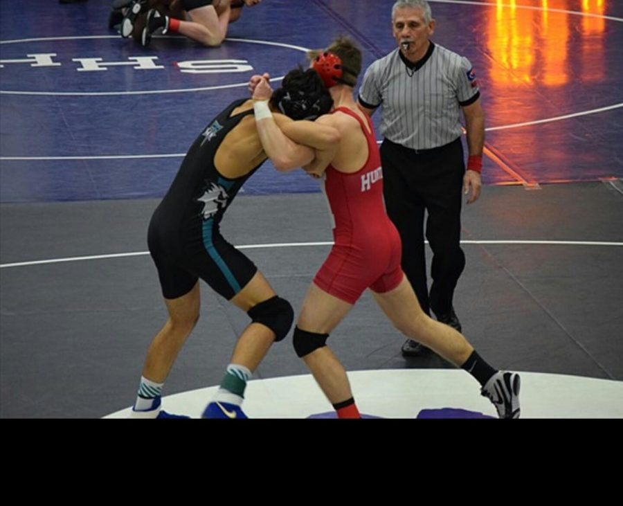 Sophomore Brad Zbilski wrestles at the Fox Valley Conference meet.