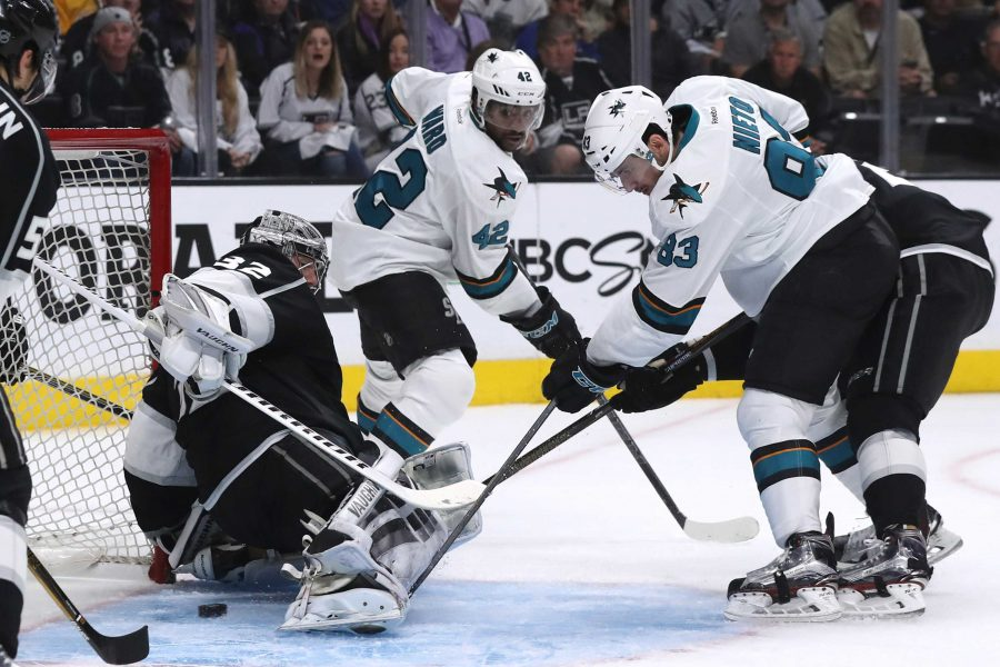 The San Jose Sharks' Matt Nieto, right, sneaks the puck past Los Angeles Kings goalie Jonathan Quick for a second-period goal during Game 5 of the Western Conference quarterfinals at Staples Center in Los Angeles on Friday, April 22, 2016. (Robert Gauthier/Los Angeles Times/TNS)