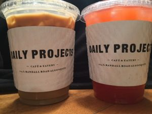 A vanilla cold brew and strawberry lemonade from Daily Projects (A. Landman).