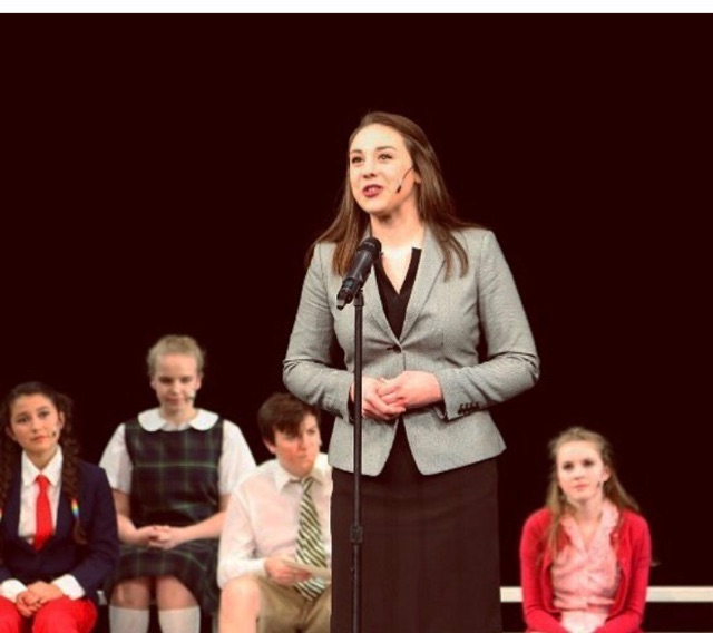 Kate Urosevich performing as Rona Lisa Peretti in the Fr/Soph musical Putnam County Spelling Bee (Courtesy of K. Urosevich).