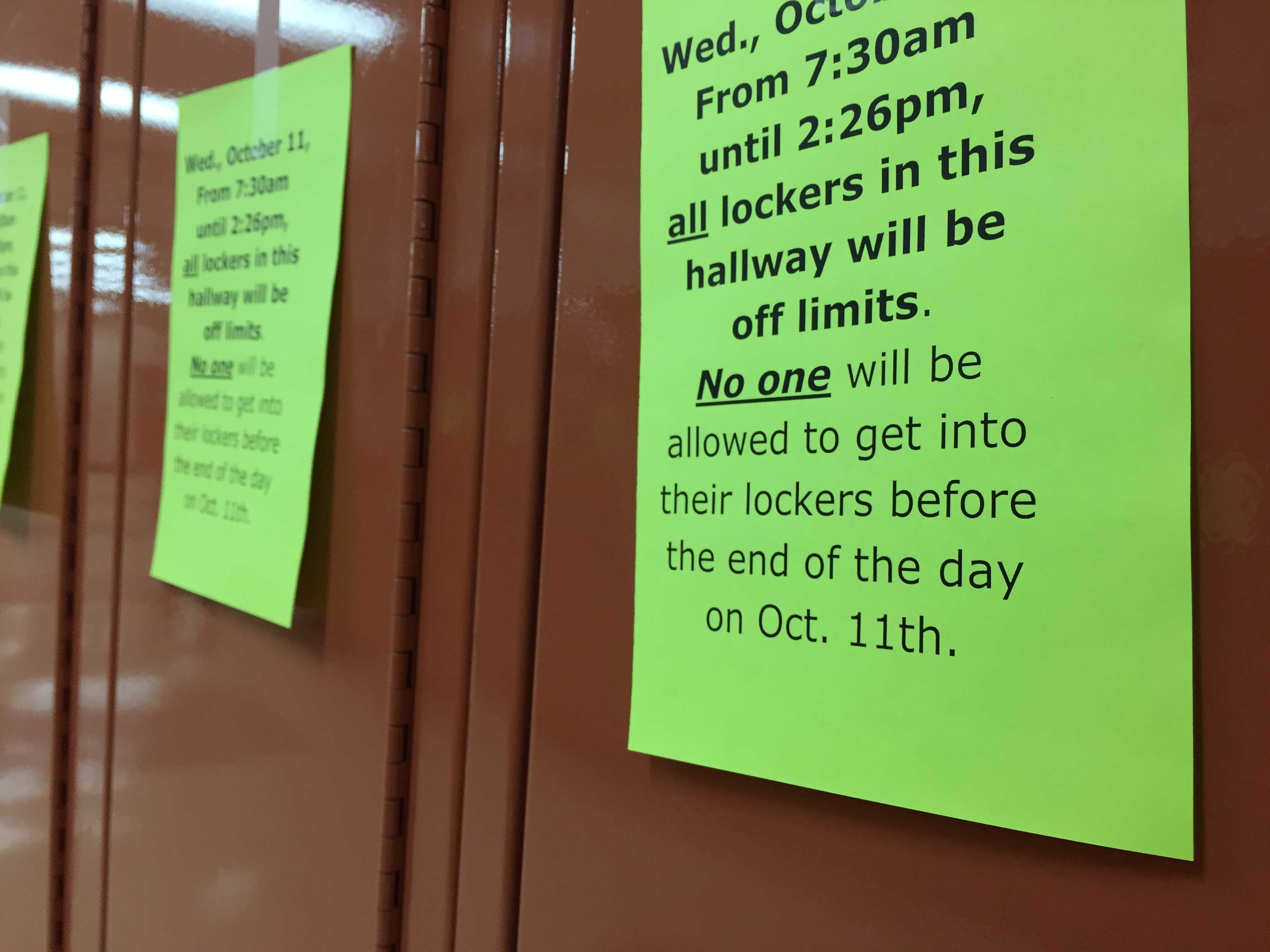 Hallways are blocked off to provide a quiet environment for test takers.