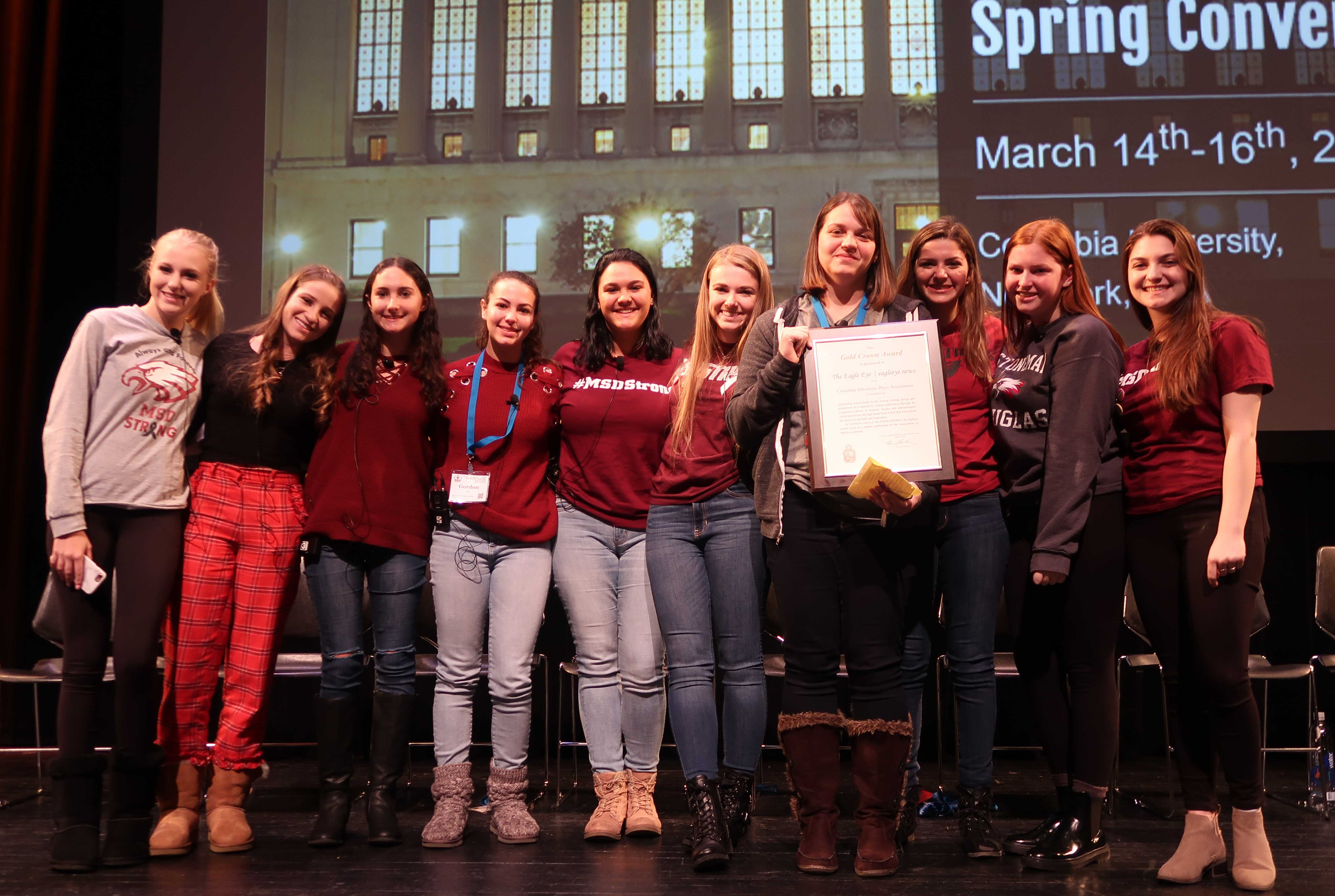 The Eagle Eye staff of Marjorie Stoneman Douglas High School after receiving their gold crown award at the Columbia Scholastic Press Association (Courtesy of M. Simons, CSPA).