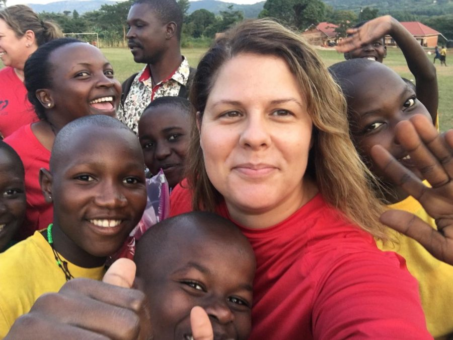 Paula Thivierge with some of the children she worked with in Uganda.