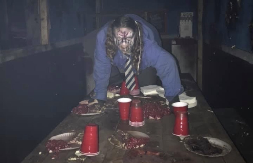 Tessa Highly scares customers during her spooky shift.