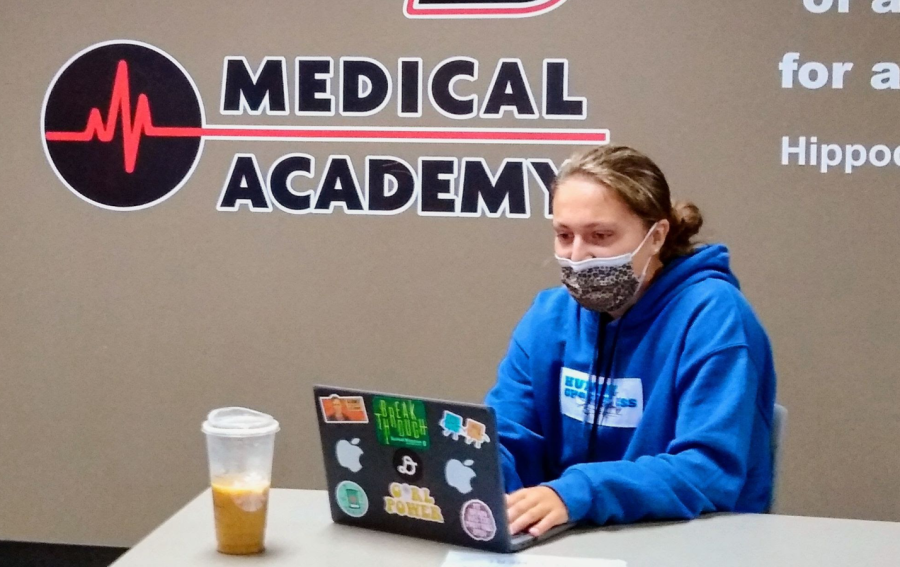 Bella DeMonica works on an assignment for the medical academy. (M. Mize)